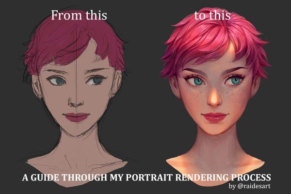6 bước render chân dung