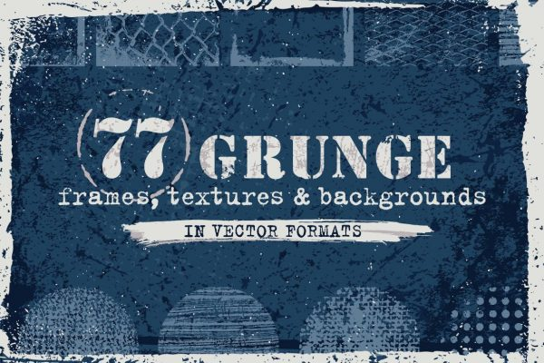 77 Grunge Textures, Backgrounds, Frames Set