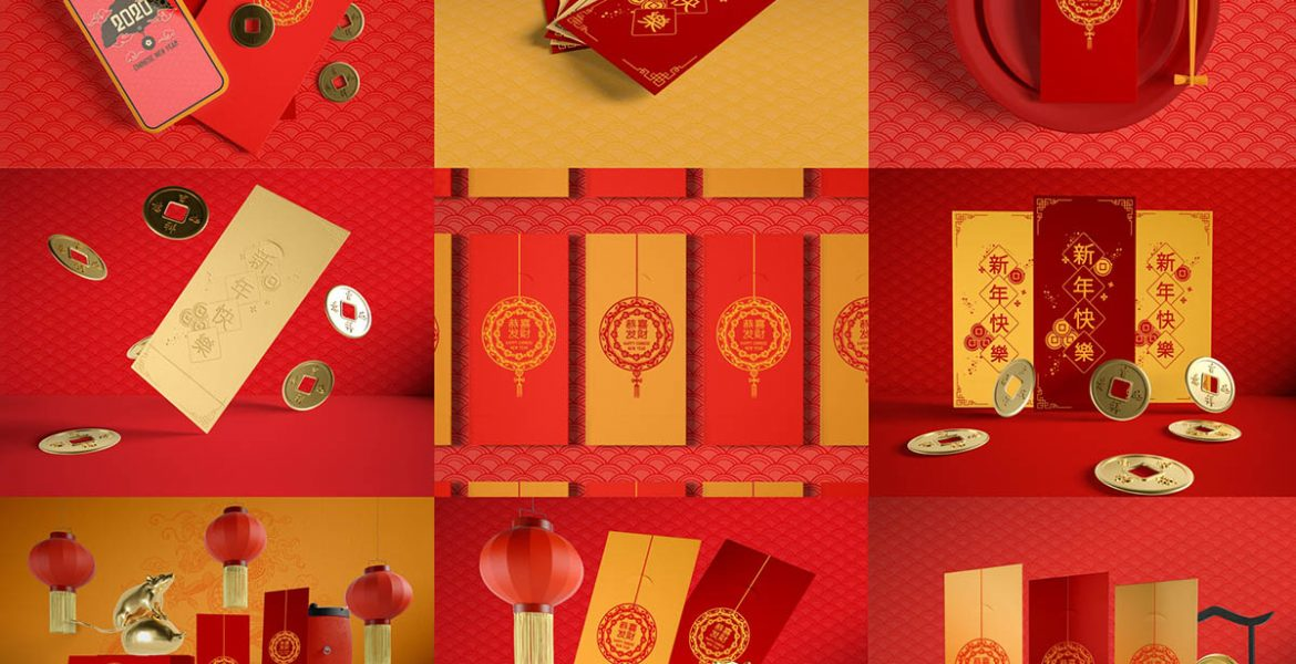 Mockup bao lì xì file photoshop psd free download