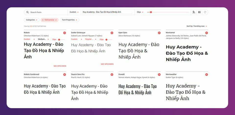 100 Fonts chữ Google Font Tiếng Việt
